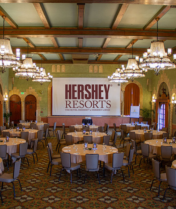 Meeting room in the Hotel Hershey set up for a banquet