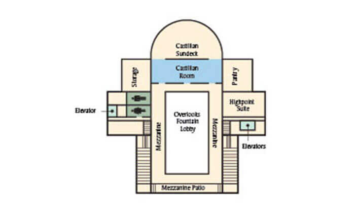 Floorplan of the castilian room at the hotel hershey