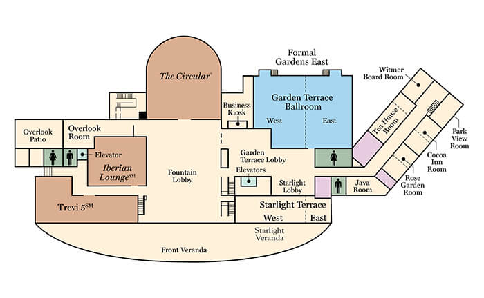 Floorplan of the Garden Terrace room at the hotel hershey